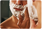man lathering for shave