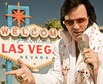 Elvis impersonator Las Vegas Sign